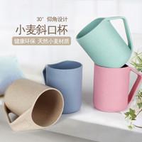 Wholesale Lovely Kitchen ML Eco Creative Wheat Straw Cup Washing Gargle Mug Water Mug With Handgrip Plastic Tea Coffee Cups M22
