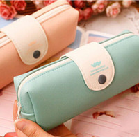 Wholesale New Cute Kawaii Pure Color Leather Pencil Case School Pencil Bag For Girls Korean Stationery