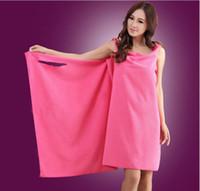 Wholesale Wearable fashion lady colorful magic bath towel absorbent microfiber quick dry beach spa bathrobes bath towel skirt cm g