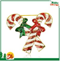 best candy cane - AL049 A Best Sellers Christmas Jewelry Fashion The candy cane Lapel Pins New Arrival Red Green Bowknot Brooch Pins Pc