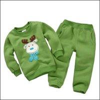 al por mayor sistema de la muchacha tutú verde-Green Fresh Boy Girl Sudaderas de dibujos animados con pantalones Set Niños Hoodies Add Plush Set de paño de invierno de otoño