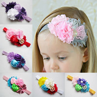 Wholesale baby accessories headbands for girls Hessian ribbon todler hair hair jewelry Multicolored rose ribbon with sequins bow ribbon