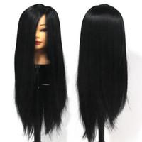 achat en gros de têtes de modèle de mannequin-28 po noir de coiffure mannequin têtes de coupe de tressage avec des cheveux synthétiques forme de formation modèle 100% à haute température des cheveux Fibre