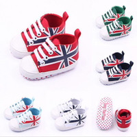 Wholesale Crochet Kids Shoe Patterns - New Fashion Unisex Kid Children Baby Boy Girl First Walkers Union Jack Pattern Classic Casual Sports Sneakers Infant Crib Shoes