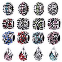 achat en gros de perles d'argent animaux-Perles de Cristal Fit pour Bracelet Collier pour Femmes Européen Big Hole Cute Animal DIY Argent Plaqué Charms Bijoux Fina