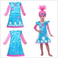 achat en gros de robes de filles dhl gratuit-Chaude nouvellement Trolls Princesse Poppy Dresses Girls Party Wedding Dresses Mode Enfants Noël Vêtements DHL Livraison gratuite