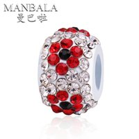 Wholesale MANBALA Multicolor Rhinestones Crystal Flower Beads fit Women Charms Bracelets Bangles DIY Jewelry Accessories Making Beads AA03D