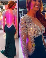 Wholesale Custom made beaded rhinestone prom dresses long sleeves sheer neck vestidos de novia zipper see through formal mermaid evening gowns
