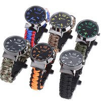 Wholesale Safely Outdoor Camping Hiking Watch Survival Kit Paracord Wrist Watches Emergency Rope Gear Fire Starter Scraper Compass Flint Gear F242