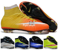 Wholesale 2017 New Mercurial Superfly FG Kids Soccer Shoes CR7 Hypervenom Womens Mens Football Shoes Authentic Magista Obra Cleats Boots Black Gold
