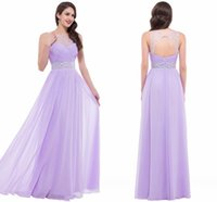 Wholesale Floor Length Summer Sheer Formal Evening Gowns Illusion Neckline Sexy Beaded Pink Bridesmaid Dresses Hollow Back Chiffon Party Gowns CL6112