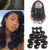 Cheap Brazilian Body Wave Virgin Human Hair Weaves With Silk Base 360 Lace Frontal Closure With Bundles Silk Top Pre Plucked 360 Frontals
