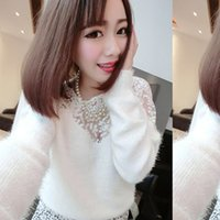 Wholesale New Winter Spring Fashion Lace Mohair Sweater Casual Tricotado Long Sleeve Women Sweater Lace Wool Sweater Free Size HFF216
