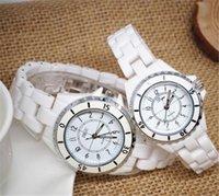 Cerámica blanca reloj de pulsera Baratos-Relojes de lujo de la marca de fábrica de señora White Ceramic Relojes de cuarzo de la alta calidad para las mujeres Relojes exquisitos de la mujer de la manera