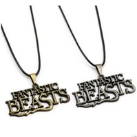 Wholesale Harry Potter Necklaces Bronze FB Fantastic Beasts and Where to Find Them Letter LOGO Pendant Women Men Chritsmas Valentine Gifts Jewlery