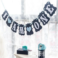 Wholesale I AM ONE Banner Party Decoration M Kraft Paper Bunting Garland Birthday Party Decoration for Heart Flags