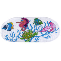 Wholesale Cartoon Anti slip PVC Bath Mat Bathroom Safety Carpet Shower Floor Cushion Rug with Suction Cups Seaworld Turtle For Bathroom