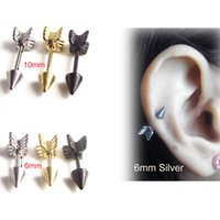 Wholesale Gold Stainless Steel Studs Earring Industrial Barbell Lovely Surgical Arrow Shape Ring Ear Tragus Piercing Helix Fake Taper