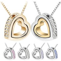 attraction pendant - Vogue of new fund lovely temperament contracted double heart necklace double heart attraction heart shaped pendant necklace