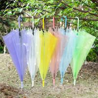 Wholesale Clear Plastic Umbrellas Wholesale - Transparent Clear EVC Umbrella Long Handle Rain Sun Umbrella See Through Colorful Umbrella for Rainproof Wedding Photo for Adult Kids
