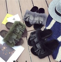 Wholesale Top Selling Big Kids Mother Fashion Fluffy Slippers Rihanna Fenty Slippers Women Slipper Shoes With Tassels Leadcat Fur Sandals Q0782