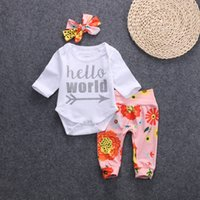 Wholesale 2017 NEW style Kids Clothing Sets Cotton long Sleeve hello world Silver letter three piece spring summer t shirt pant hairband