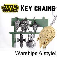 alloy enterprises - Star Wars Star Trek alloy Key chains Warships spaceship Key ring Car Key pendant Millennium Falcon Star Destroyer Slave I Enterprise cm