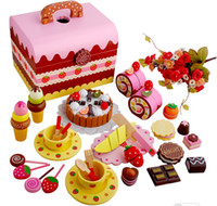 Wholesale Girls Strawberry Sweet Princess Pretend Play and Dress up Wood Kitchens Play Food Afternoon tea Chocolate party Gift for You daughter