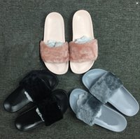 Wholesale 2016 Cheaper Hot Rihanna Fenty Slippers Women Slipper Shoes Leadcat Fur Slides Indoor Sandals Girls Fashion