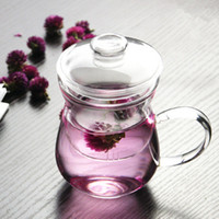 Wholesale glass tea cup with straw and lid high quality flower teaware three pieces