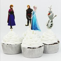 Wholesale Frozen party supplies favors Cake Decorating Tools Fruits Cupcake Inserted Card for kids birthday decorations accessories