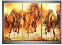 Конные фотографии Цены-Современные Handmade животных Картина маслом украшения стены искусства бегущий конь на холсте Picture подставил готовы повесить