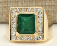 Wholesale 5 CTW NATURAL MENS EMERALD AND DIAMOND RING IN K YELLOW GOLD