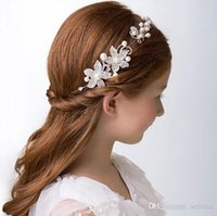 Wholesale Pearl ornament and Crystal Girls Head Pieces Children Hair Flower girls Christmas party Wedding Hair Accessories Jewelry Jewelry