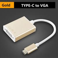 Byloly USB 3.1 Type C vers VGA Adaptateur Convertisseur Câble vidéo mâle vers connecteur femelle 1080PP HD pour Macbook Laptop