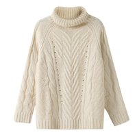 Wholesale A set of head bottoming woollen sweaters new autumn and winter white simple fashion women s self cultivation