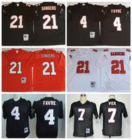 Wholesale 2017 Vick Throwback Atlanta Brett Favre Michael Vick Deion Sanders White Black Home Away hot Stitched Football Jerseys Mix Order