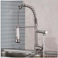 bar sink brushes - Luxury Brushed Nickel Kitchen Faucet Spring Vessel Sink Bar Mixer Tap Single Handle Hole Dual Sprayer Deck Mounted