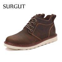 basic boots - SURGUT Brand Fashion Cow Split Leather Basic Men Boots Original Brand Spring Autumn Footwear Men Shoes Stylish Men Ankle Boots