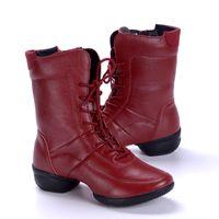 Wholesale Winter Genuine Leather Women Ballroom Salsa Dance Shoes Velvet Warm High top Dance Boots Platform about CM Sneakers