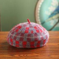 artist patterns - The autumn winter retro Ladies Hat Wool Hat Christmas plaid pattern pop artist Newsboy Cap