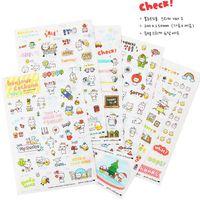 Wholesale 6 Cute Kawaii Transparent Pig Korean Cartoon Animals Decoration Flake Pvc Plastic Sheet Scrapbook Stickers For Kids