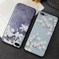 art cells - For Iphone Cell Phone Case Bloom Plum Flowers Literature And Art Fresh Embossment Phone Case For Iphone plus Plus