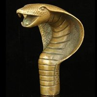 Wholesale SUIRONG1125 Collectible Old Handwork Carving Cobra Cane Head Walking Stick Mascot
