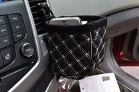 Venta al por mayor-Móvil titular del teléfono negro Auto coche de tapicería de cuero coche de salida bolsos bolso organizador teléfono celular bolsillo guante Accesorios para el coche