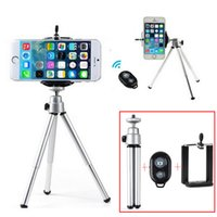 Wholesale Mini Portable Travel Desktop Tripod Bluetooth Remote Control Camera monopod With Clip For Iphone Samsung Camera Gopro DV Camcorder