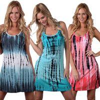 Wholesale Women Sleeveless Sundress Sexy Print Vest Dress Simple Fashion Dresses Summer Casual Dress Loose Beach Dresses Tank Top Dress Clothing D538