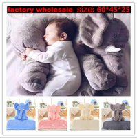 Wholesale 5 Color Elephant Pillow baby doll children sleep pillow birthday gift INS Lumbar Pillow Long Nose Elephant Doll Soft Plush cm