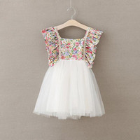 Wholesale Dresses Rustic Floral Baby Girls Dress Flare Backless Bow Tutu Girls Clothing Beach Girls Party Dress Outfit