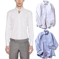 achat en gros de célèbres marques de tissu-Hommes Oxford Tissu Chemise Avec Poche 2017 Famous Marque Longsleeve Casual Wear Shirt Homme Mode